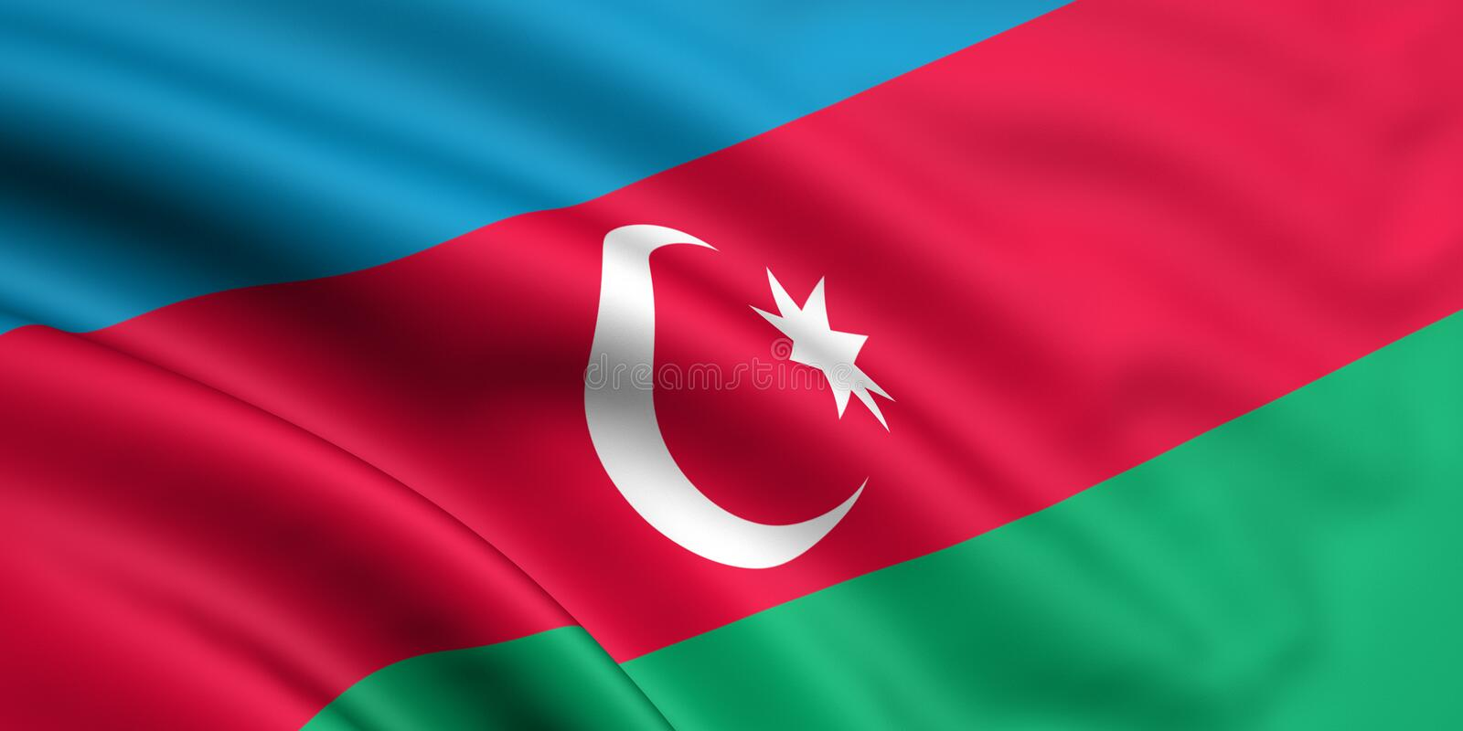 azerbaijan flagga royaltyfri illustrationer