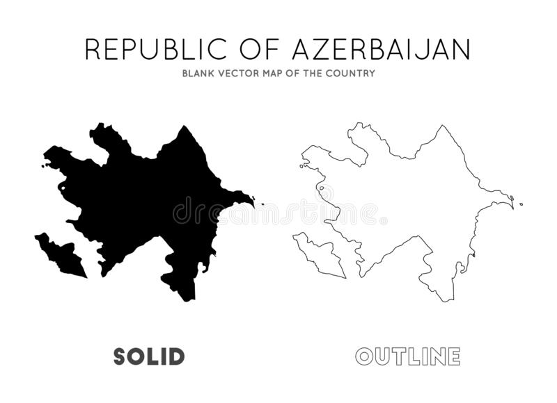 Azerbaijan map. Blank vector map of the Country. Borders of Azerbaijan for your infographic. Vector illustration stock illustration