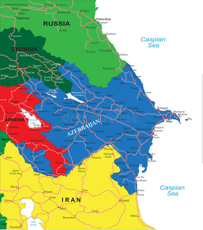 Azerbaijan map. Highly detailed vector map of Azerbaijan with administrative regions,main cities and roads vector illustration