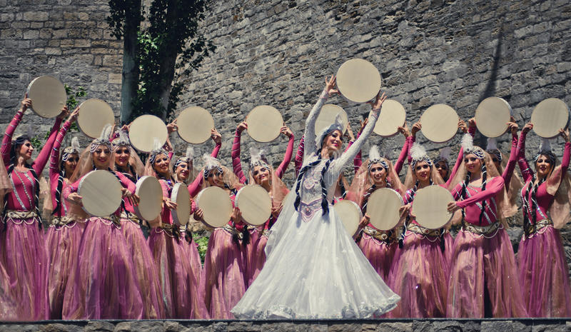 Azerbaijan national dance stock photo