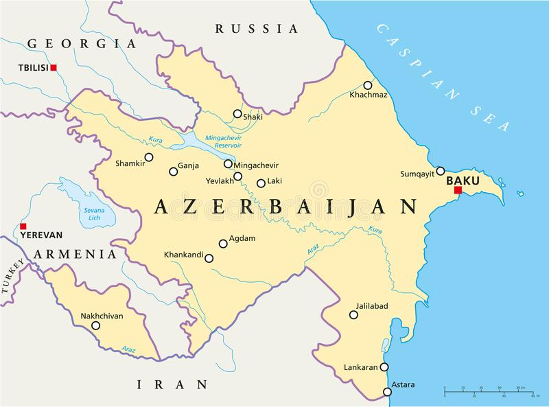 Azerbaijan Political Map stock vector Illustration of karabakh