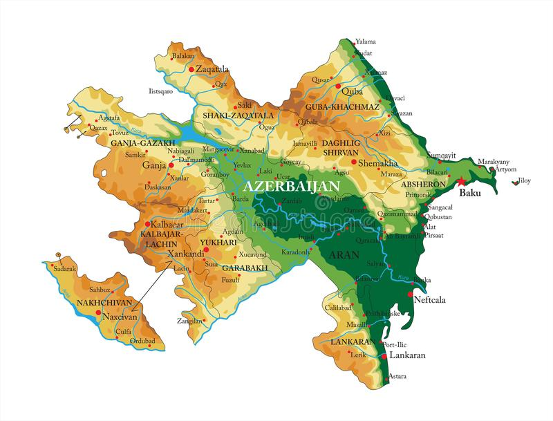 Azerbaijan relief map. Highly detailed physical map of Azerbaijan,in vector format,with all the relief forms,regions and big cities vector illustration