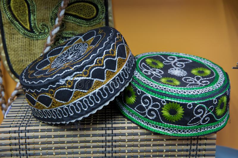 Azerbaijan's national hat is embroidered . traditional muslim hats sold on a local market in Icheri Sheher Old Town in the Center royalty free stock image