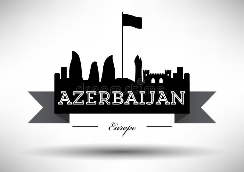 Azerbaijan Skyline with Typographic Design stock illustration