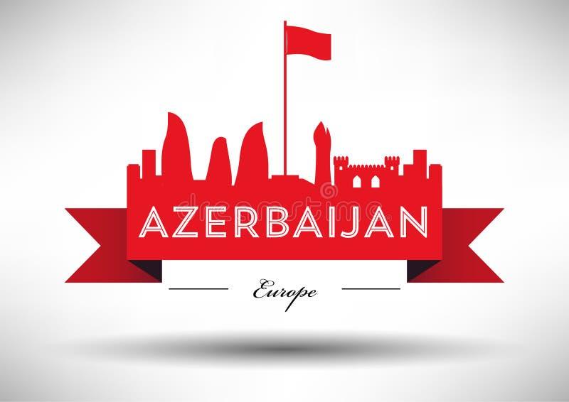 Azerbaijan Skyline with Typographic Design vector illustration