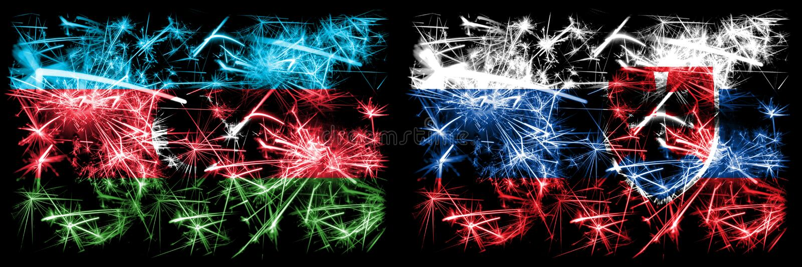 Azerbaijan, Slovakia, Slovakian, flip sparkling fireworks concept and idea flags royalty free illustration