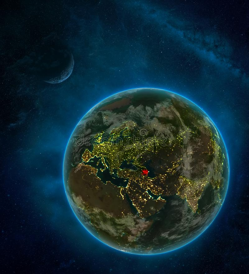 Azerbaijan from space on Earth at night surrounded by space with Moon and Milky Way. Detailed planet with city lights and clouds. 3D illustration. Elements of stock illustration