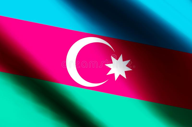 Azerbaijan. Stylish waving and closeup flag illustration. Perfect for background or texture purposes vector illustration