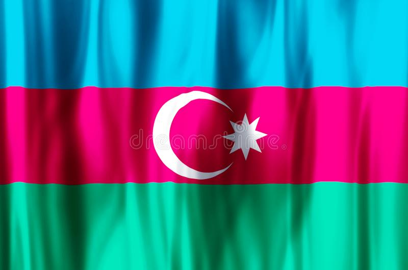 Azerbaijan. Stylish waving and closeup flag illustration. Perfect for background or texture purposes stock illustration