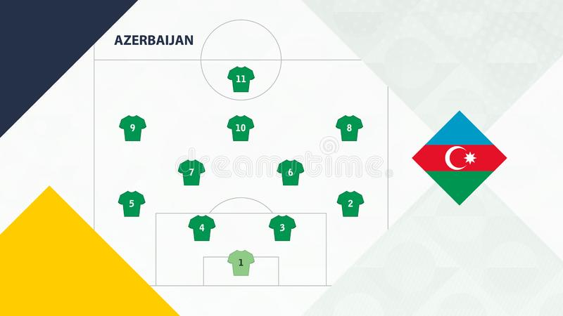 Azerbaijan team preferred system formation 4-2-3-1, Azerbaijan football team background for European soccer competition.  royalty free illustration