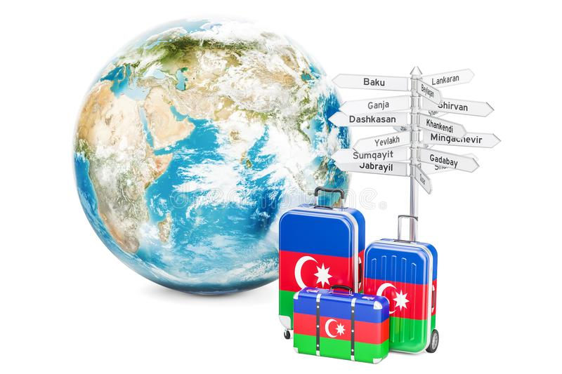 Azerbaijan travel concept. Suitcases with signpost and Earth Globe, 3D rendering stock illustration