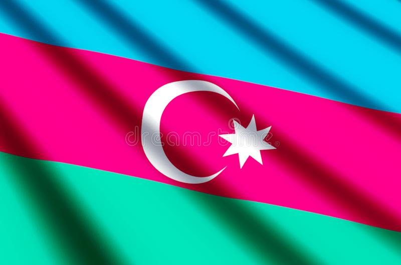 Azerbaijan. Waving and closeup flag illustration. Perfect for background or texture purposes vector illustration