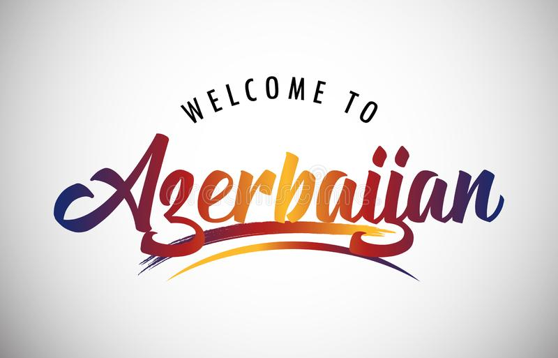 Welcome to Azerbaijan. Azerbaijan Welcome To Message in Beautiful Colored Modern Gradients Vector Illustration stock illustration