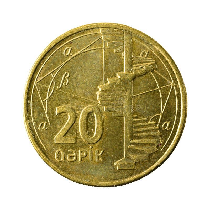 20 azerbaijani qepik coin obverse. Isolated on white background royalty free stock image