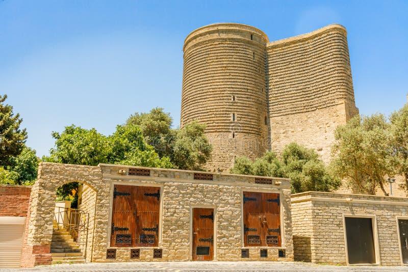 Azerbaijani stone buildings with Gız Galası medieval Maiden tower, old town, Baku. Azerbaijan stock photo