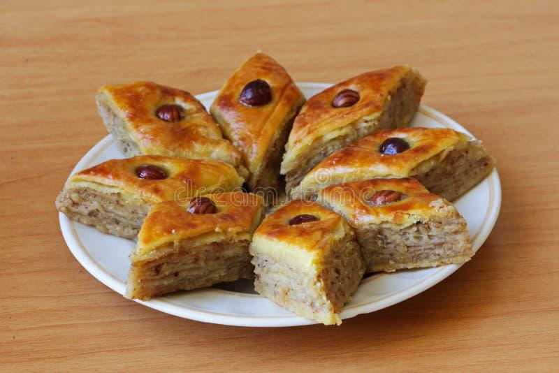 Azerbaijani sweet baklava in home production stock image