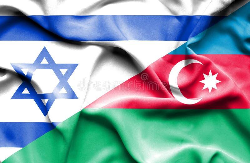 Azerbajan和以色列的挥动的旗子 库存例证