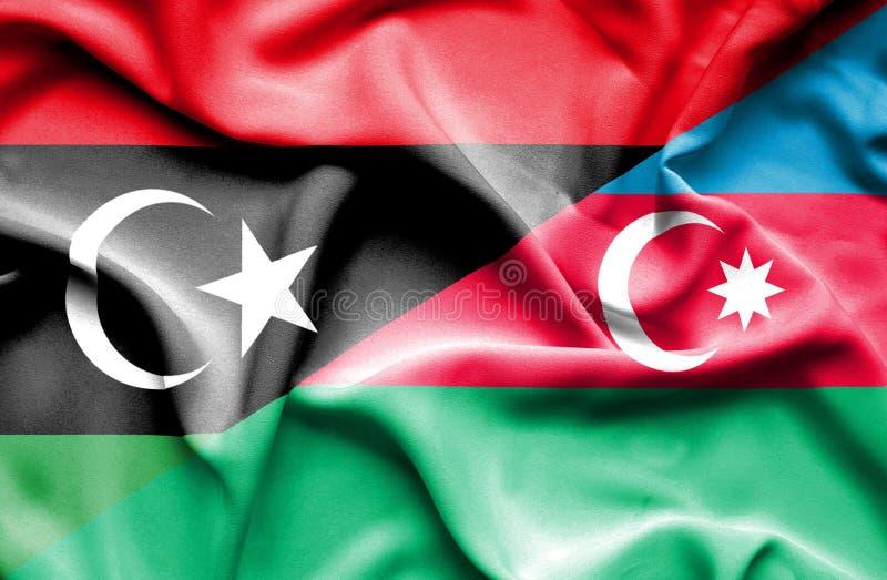 Azerbajan和利比亚的挥动的旗子 皇族释放例证