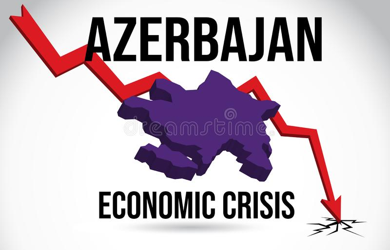 Azerbajan Map Financial Crisis Economic Collapse Market Crash Global Meltdown Vector. Illustration stock illustration