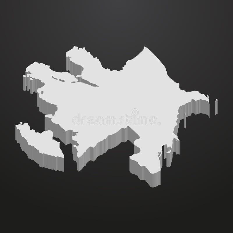 Azerbajdzjan översikt i grå färger på en svart bakgrund 3d vektor illustrationer
