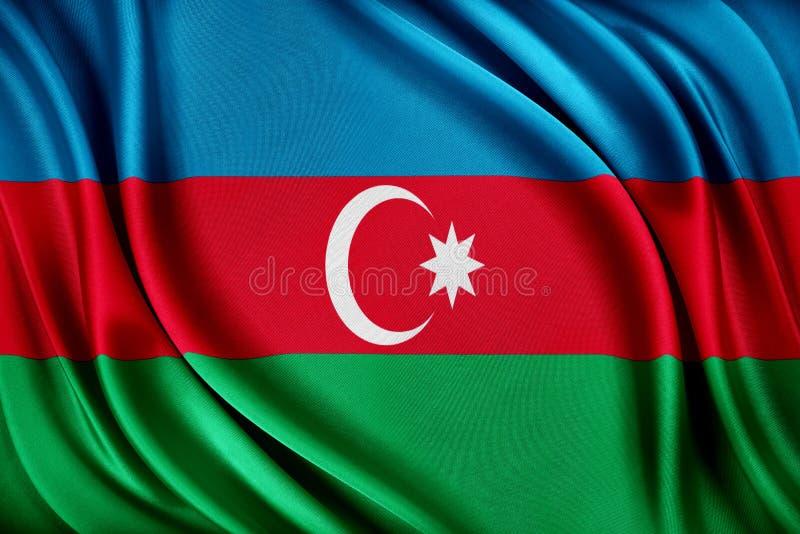 Azerbajdzjan flagga Flagga med en glansig siden- textur vektor illustrationer