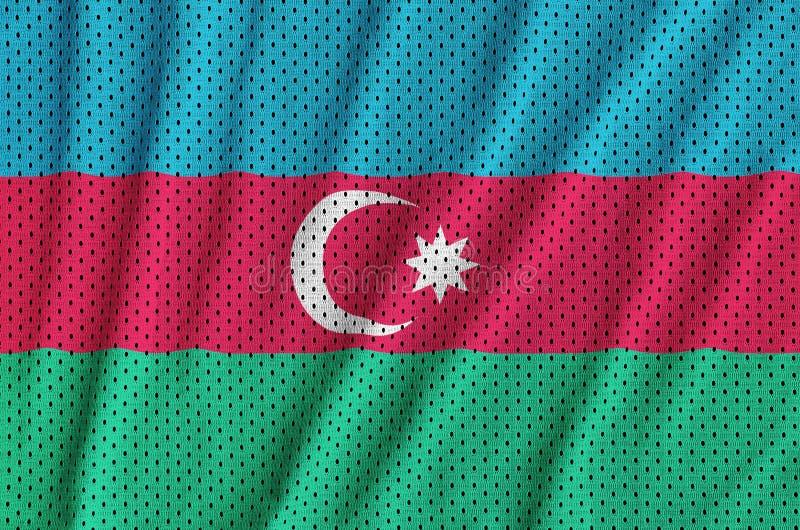 Azerbajdzjan flagga som skrivs ut på ett fab ingrepp för polyesternylonsportswear royaltyfria bilder