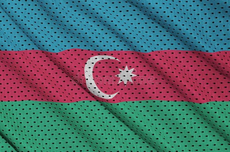 Azerbajdzjan flagga som skrivs ut på ett fab ingrepp för polyesternylonsportswear arkivbild