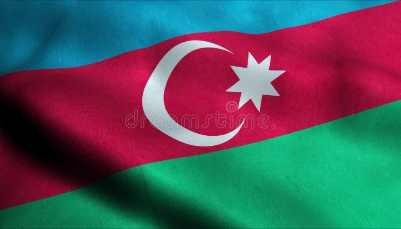 Azerbajdzjan vinkande flagga i 3D royaltyfri illustrationer