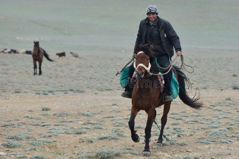 Azerbajdzjansk herde på hästrygg royaltyfria bilder