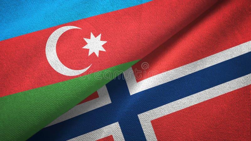Azerbeidzjan en Noorwegen twee vlaggen textieldoek, stoffentextuur vector illustratie