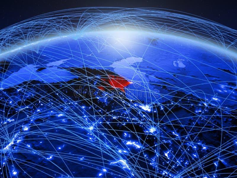 Azerbeidzjan op blauwe digitale aarde met internationaal netwerk die mededeling, reis en verbindingen vertegenwoordigen 3d royalty-vrije stock foto's