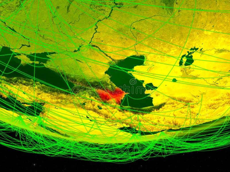 Azerbeidzjan op groen model van aarde met netwerk die digitaal tijdperk, reis en mededeling vertegenwoordigen 3D Illustratie stock foto's