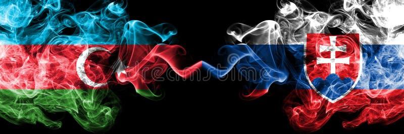 Azerbeidzjan, Slowakije, Slowaak, kleurrijke rokerige vlaggen van de tikconcurrentie de dik De Europese spelen van voetbalkwalifi stock foto