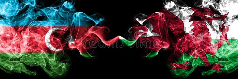 Azerbeidzjan, Wales, Bewoners van Wales, kleurrijke rokerige vlaggen van de tikconcurrentie de dik De Europese spelen van voetbal stock foto's