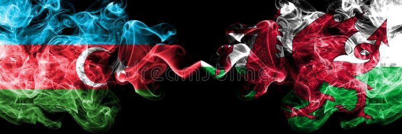 Azerbeidzjan, Wales, Welse de concurrentie dik kleurrijke rokerige vlaggen De Europese spelen van voetbalkwalificaties stock afbeeldingen