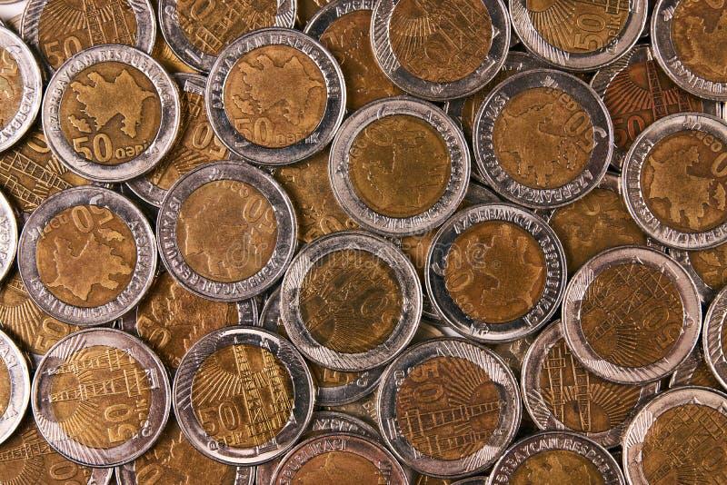 Azerbejdżan waluty qepik odgórny widok zdjęcie stock