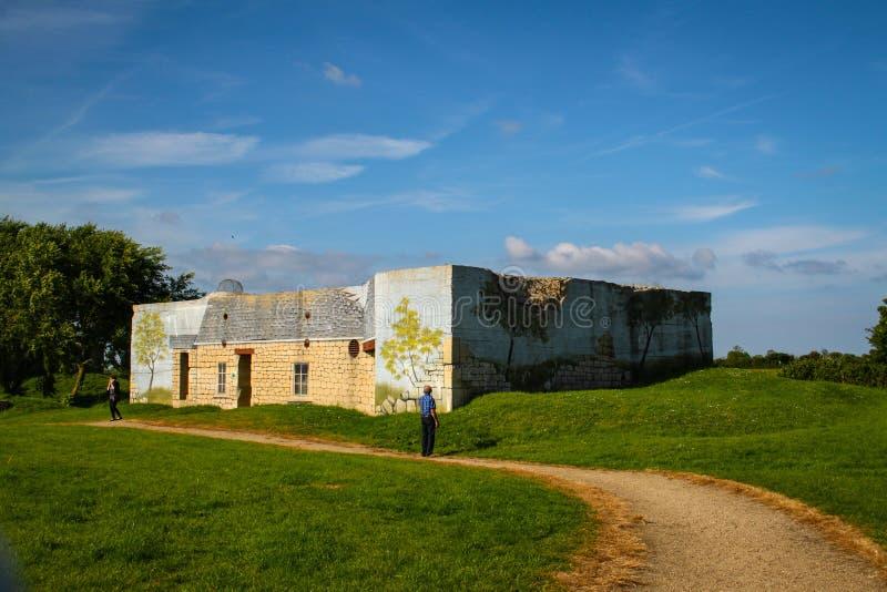 Azeville batteribunker Normadia Frankrike Tyskt defensivt läge i det andra världskriget arkivfoton