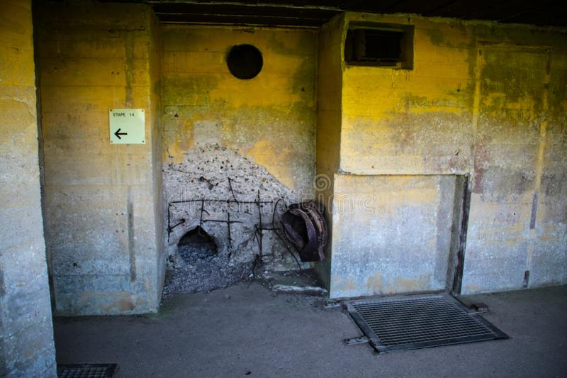 Azeville batteribunker Normadia Frankrike Tyskt defensivt läge i det andra världskriget royaltyfria foton