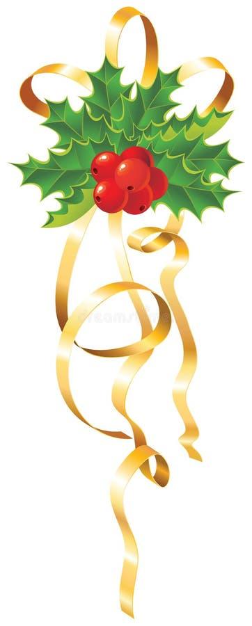 Azevinho do Natal com fita do ouro ilustração royalty free