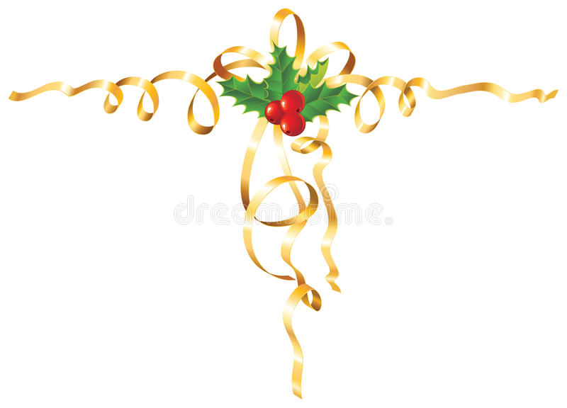Azevinho do Natal com fita/vetor do ouro ilustração stock