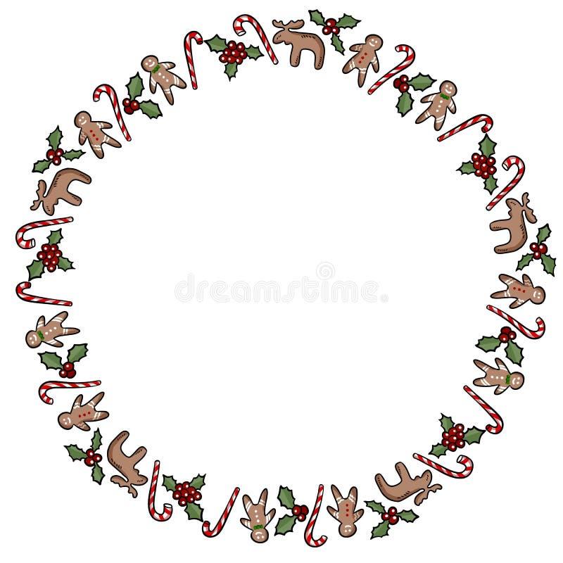Azevinho do Natal e grinalda decorativa dos doces isolada no fundo branco ilustração stock