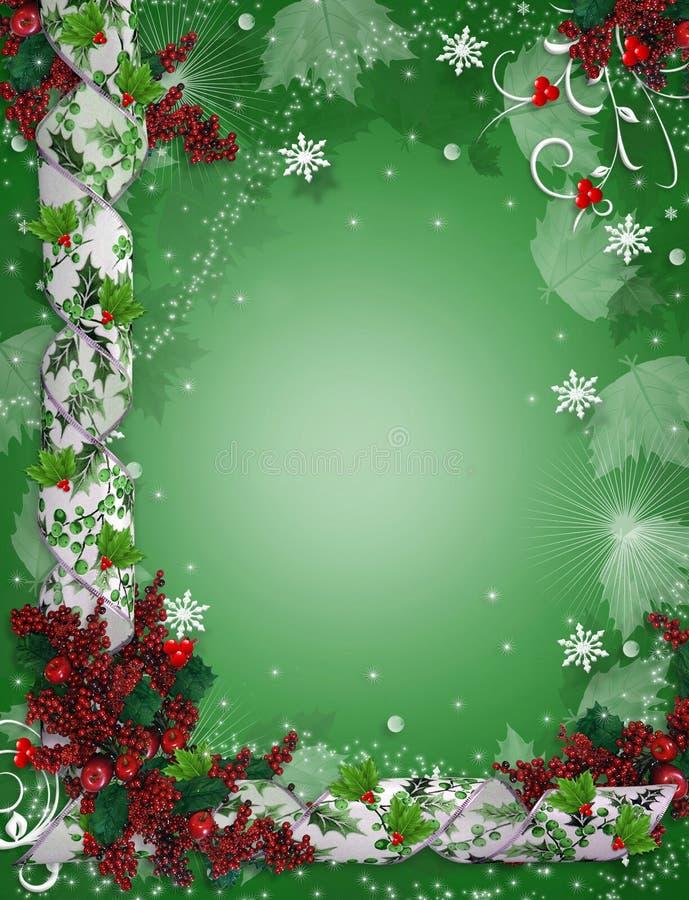 Azevinho elegante das fitas da beira do Natal ilustração royalty free
