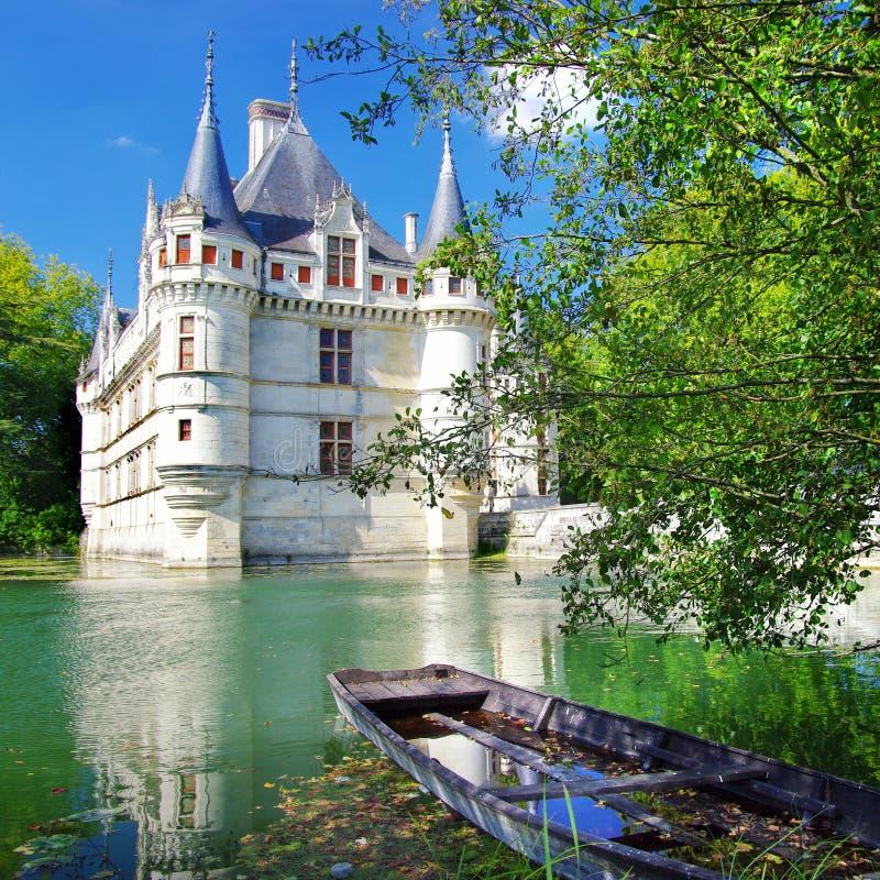 Azey-le-redeau castle stock photo