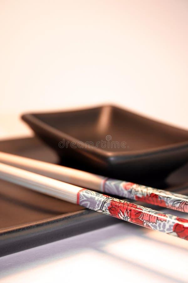 Azië & voedsel: Japanse sushi vastgestelde I stock afbeelding