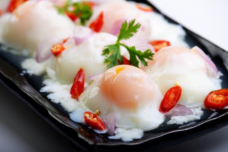 Azië-Aziaat die voedsel, Thais voedsel, Yum eten kookt eieren, omhoog sluit royalty-vrije stock foto's