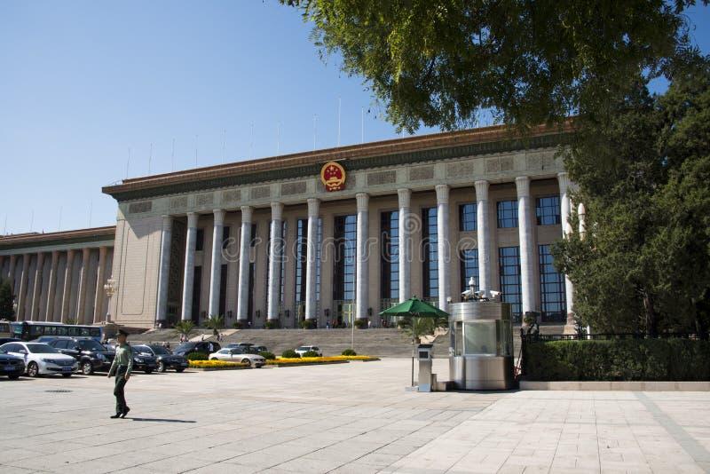 In Azië, China, Peking, de Grote Zaal van de Mensen stock fotografie