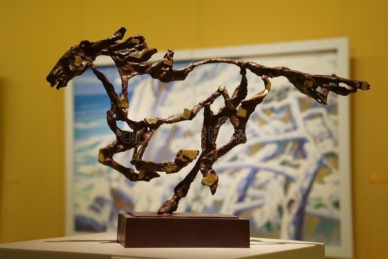 In Azië, China, Peking, kunstmuseum, de lay-out van de tentoonstellingszaal, binnenlands ontwerp royalty-vrije stock foto's