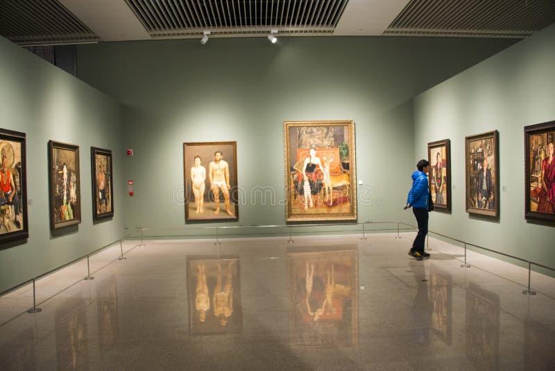 Azië China, Peking, Nationaal Museum, Binnententoonstellingszaal stock afbeelding