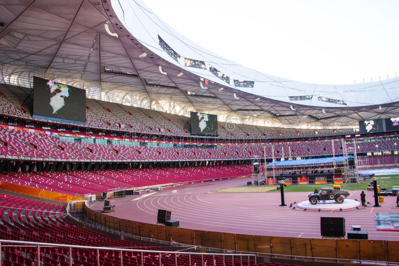 Azië China, Peking, Nationaal Stadion, interne structuur, de publiekstribune stock afbeeldingen