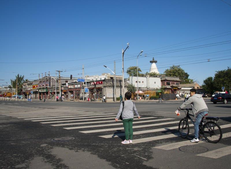 In Azië, China, Peking, straatlandschap, kruispunten stock foto's